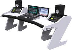 Buy Home Studio Desk Workstation Furniture. Modular system design allows you to set up how you choose and expand as your Studio grows for recordings. Recording Studio Furniture, Home Recording Studio Setup, Home Studio Setup, Studio Build, Audio Studio, Music Studio Room, Studio Equipment, Studio Gear, Dj Equipment