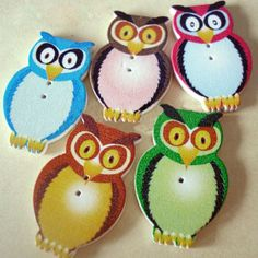 6 x Assorted Colours Wooden Owl Two Hole Buttons 31mm x 20mm (R9D5) - Only 99p