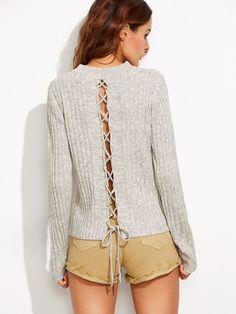 Grey Marled Knit Lace Up Back Sweater