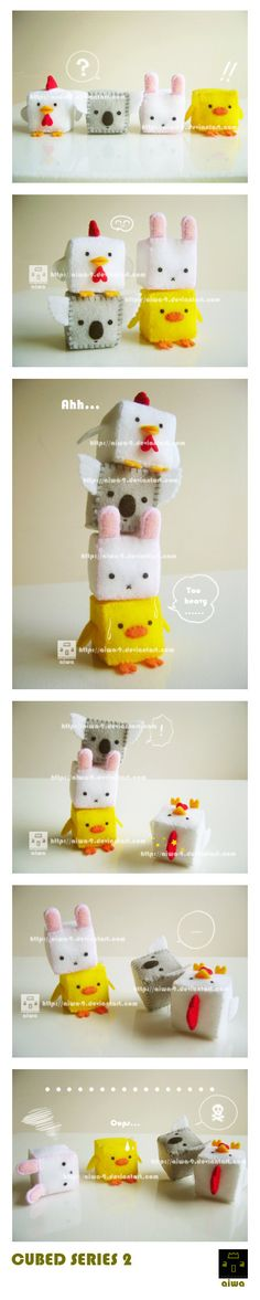 series 2 is out~~ They are playing stack the cubes, but it's too heavy for the baby chick, so they fall XD The koala and bunny both have a short, round tail at the back, but I didn't take...