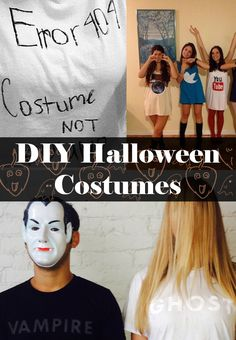 Got a t-shirt? How about fabric paint or markers? Halloween costumes made with t-shirts are quick, clever, last-minute Halloween costumes. Easy Diy Couples Costumes, Halloween Costumes For Teens Girls, Last Minute Halloween Costumes, Halloween Dress, Holidays Halloween, Halloween Diy, Halloween Makeup, Happy Halloween, Dress Up Costumes
