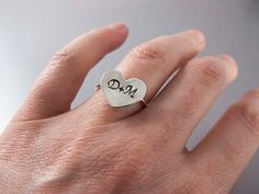 Sweet Heart Couple Initial Ring in Sterling Silver - New Larger Size - Custom Hand Stamped Letters. $32.00, via Etsy.