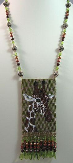 Giraffe Beaded Amulet Bag Necklace or Wall Art