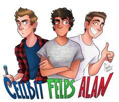 Desenho do cellbit, felps e alan por @gabitozati
