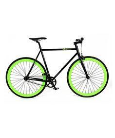 Black & Green Single-Speed Bike