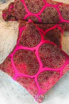 One of our favorites, these burnout (devoré) velvet Moroccan-inspired pillows are stunners in shades of pink, burgundy, and red. Velvet Pillows, Wool Pillows, Traditional Tapestries, Modern Bohemian Decor, Tapestry Loom, Home Furnishing Stores, Indian Colours, Textile Company, Linen Towels