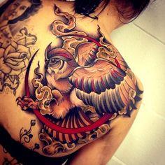 Mystical Owl Moon - Shoulder Tatto. Red/Black/White Ink (.Tom Barkley.) #Tattoo