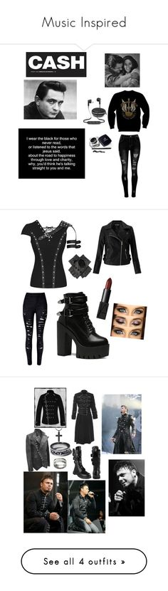 """""""Music Inspired"""" by bobthechob ❤ liked on Polyvore featuring iWorld, Miss Selfridge, Black, NARS Cosmetics, black, Punk, redlips, Vance Co., Floyd and Valentino"""
