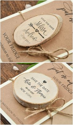 Save the date cards with wooden magnets #wood #wedding #savethedate #weddingideas #weddingplanning #country