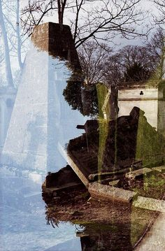 Ghost town/Graveyard- double exposure of Domfront and Père Lachaise