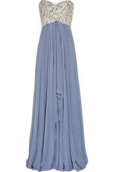 periwinkle blue full gown with gorgeous silver embellishment on bodice