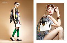 Left Dress, socks & jewellery / Prada Coat, visor & shoes / Marni Right Bag / Prada Top / Ashish  Glasses / Linda Farrow