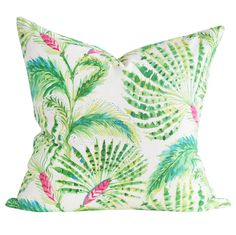 "A summery palm tree pillow in lime and grass green, hibiscus pink and ocean blue on a white background in 20"" x 20"".Designed and Handmade in Canada by Tonic Living in small batches (in house!)"