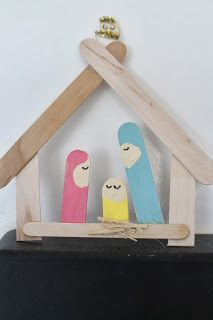Christmas Craft for Preschool:  Popsicle Stick Nativity
