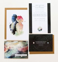 Galaxy Wedding Stationary 宇宙をテーマにしてデザイン制作された、ポストカードスタイルの招待状。