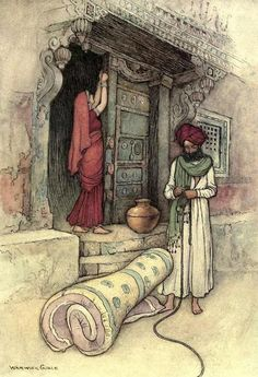 """They then set out on their journey"", ill. 11, pg 106 from Warwick Goble: Folktales of Bengal, 1912"