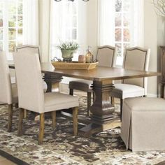 Coaster Parkins Dining Table with Shaped Double Pedestals in Coffee - Walmart.com