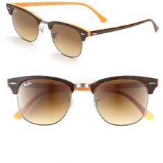 Ray-Ban 'Clubmaster' 51mm Sunglasses ($150) ❤ liked on Polyvore