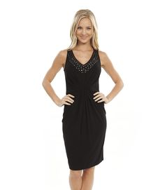 Great front detailing on this black dress