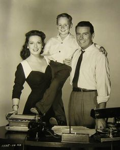 """Maureen O'Hara, Tim Hovey and John Forsythe in """"Everything But the Truth"""", (1956)."""