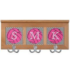 Custom Monogram Pink Volleyball Chevron Coat Rack
