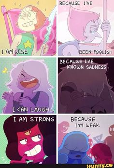 """""""Steven Universe"""" another show with too much feels. Steven Universe Quotes, Perla Steven Universe, Universe Art, Steven Universe Garnet, Desenhos Cartoon Network, Steven Univese, It Goes On, Super Quotes, Cartoons"""