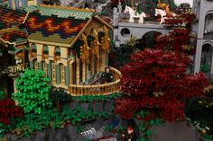 Elrond's study, beautiful Lego model of Rivendell, by Alice Finch and David Frank, via Flickr.