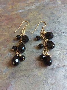 Black agate gemstones and swarovski beads gold dangle earrings