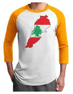 TooLoud Lebanon Flag Silhouette Adult Raglan Shirt