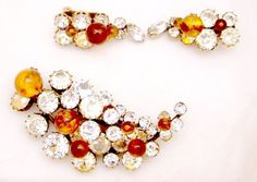 Christian Dior by Kramer Rhinestone, Amber Glass Pin and Earrings #ChristianDiorbyKramer
