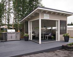 Hannas Home / Housing fair 2016 in Finland / Olotar Backyard Studio, Backyard Sheds, Backyard Retreat, Backyard Patio, Outdoor Spaces, Outdoor Living, Modern Gazebo, Roof Design, Pool Houses