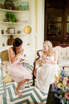Vintage Tea Party Bridal Shower | Vintage Lounge Ideas | Simply Jessica Marie and Simply Put Vintage Rentals styling featured on Wedding Chicks