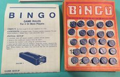 Vintage bingo cards and plastic call numbers- set of 5
