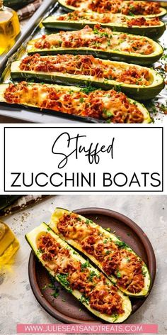 An easy, low carb dinner that's delicious and healthy! These Stuffed Zucchini Boats are filled with a hearty ground sausage mixture then topped with cheese and baked. Great for a quick dinner or meal prep for lunches. Ground Sausage, Zucchini Boats, Healthy Zucchini, Cook At Home, What To Cook, Real Food Recipes, Meal Prep, Main Dishes, Dinner Recipes