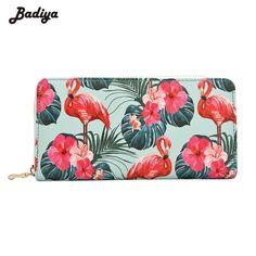 Badiya Flamingo Impressão Floral Longas Da Forma Da Bolsa das Mulheres de Grande Capacidade Saco Do Telefone Da Embreagem PU Senhoras De Couro Carteiras Titular Do Cartão