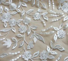Boho Bohemian White Ivory Flower leaf Lace Fabric with Sequin, Bridal Lace material, Wedding Dress Gown, Soft Embroidery Cotton DIY Applique Bridal Lace Fabric, Satin Tulle, Diy Fashion, Bridal Gowns, Applique, Handmade Items, Crafting, Sequins, Ivory