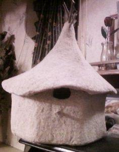 papercrete bird house I made. I Love to make and work with papercrete