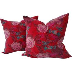 Velvet Rose Pillows- A Pair (1,120 SAR) ❤ liked on Polyvore featuring home, home decor, throw pillows, set of 2 throw pillows, rose throw pillow, rose home decor, twin pack and velvet throw pillows