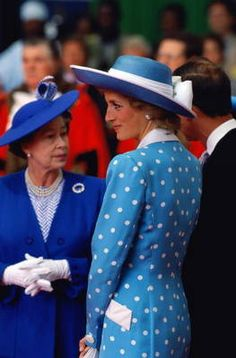 Queen Elizabeth and Princess Diana, 1989...Near The End Of the Marriage and, The Breach In Relationship Shows, Sadly...I Have A Feeling These Two Ladies ONCE Had A Warm Friendship...So Sad!!