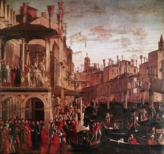 """Vittore Carpaccio The Healing of the Possessed Man at the Rialto (c. 1496) or """"The Healing of the Madman"""""""