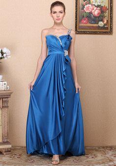A line One Shoulder Floor Length Elastic Silk Like Satin Natural Waist Evening Dress With Beading - 1300306035B - US$199.99 - BellasDress
