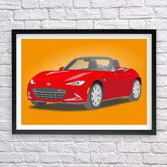 Mazda MX-5 Miata, Mazda print, Mazda poster, Japanese Sport Car, Roadster, JDM, Instant download by Recyman on Etsy