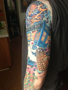 Doctor Who TARDIS tattoo on Vladzilla (color session #2) by Guf at Tattoo Royale (San Diego, CA)