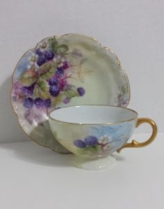 Teacup and saucer, hand painted, lustreware, raspberry by TeresaScholleDesigns on Etsy