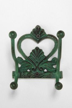 Filigree Double Hook. Having multiple hooks on a wooden plaque would be ideal as a coat hanger