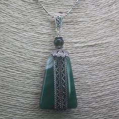 Stainless Steel Green Agate Gemstone Stone Chain Necklace Pendant P1706 0024 #ZL #Necklace