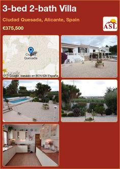 3-bed 2-bath Villa in Ciudad Quesada, Alicante, Spain ►€375,500 #PropertyForSaleInSpain