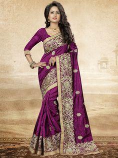 On Trend Violet and Gold Embroidered Festive Art Silk Saree #sarees #weddingsarees #festivesarees #silksarees
