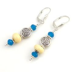 Blue and Cream Beaded Lampwork Earrings, Dangle Earring, Drop Earring, Fashion Jewelry, Fashion Accessories, Career Wear, Gift, Mother's Day by ramonahall on Etsy