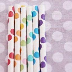 Rainbow polka dot straws. Koyal.